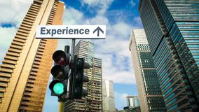 Street Sign to Experience. Street Sign the Direction Way to Experience stock footage