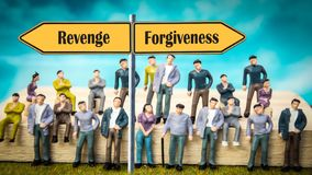 Street Sign to Forgiveness versus Revenge. Street Sign the Direction Way to Forgiveness versus Revenge royalty free stock images