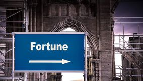 Street Sign to Fortune. Street Sign the Direction Way to Fortune royalty free stock photos