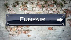 Street Sign to Funfair. Street Sign the Direction Way to Funfair stock photography
