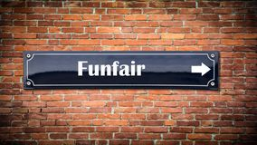 Street Sign to Funfair. Street Sign the Direction Way to Funfair royalty free stock photos