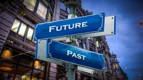 Street Sign to Future versus Past. Street Sign the Direction Way to Future versus Past stock images
