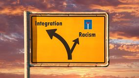 Street Sign to Integration. Street Sign the Direction Way to Integration stock video footage