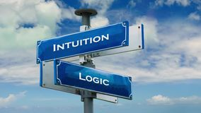 Street Sign to Intuition versus Logic. Street Sign the Direction Way to Intuition versus Logic stock footage
