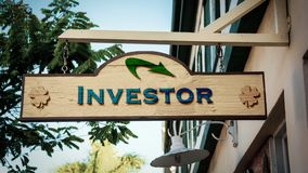 Street Sign to Investor. Street Sign the Direction Way to Investor royalty free stock photo
