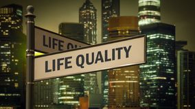 Street Sign Life Quality. Street Sign the Direction Way to Life Quality royalty free stock photo
