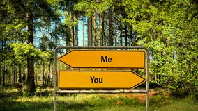 Street Sign Me versus You. Street Sign the Direction Way to Me versus You royalty free stock photography