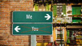 Street Sign Me versus You. Street Sign the Direction Way to Me versus You royalty free stock image
