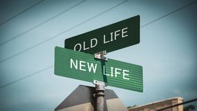 Street Sign to NEW LIFE versus OLD LIFE. Street Sign the Direction Way to NEW LIFE versus OLD LIFE royalty free stock images
