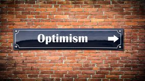 Street Sign to Optimism. Street Sign the Direction Way to Optimism royalty free stock photography