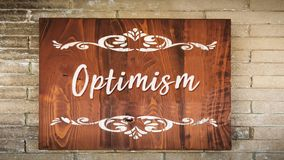 Street Sign to Optimism. Street Sign the Direction Way to Optimism stock photography