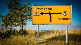 Street Sign Professional versus Amateur. Street Sign the Direction Way to Professional versus Amateur stock images