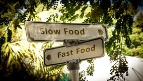 Street Sign Slow versus Fast Food. Street Sign the Direction Way to Slow versus Fast Food royalty free stock images