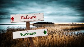 Street Sign to Success versus Failure. Street Sign the Direction Way to Success versus Failure royalty free stock image