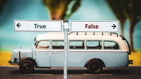 Street Sign True versus False. Street Sign the Direction Way to True versus False royalty free stock images
