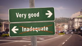 Street Sign to Very good versus Inadequate. Street Sign the Direction Way to Very good versus Inadequate royalty free stock photography