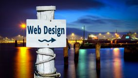 Street Sign to Web Design. Street Sign the Direction Way to Web Design stock photo