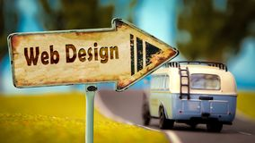 Street Sign to Web Design. Street Sign the Direction Way to Web Design royalty free stock photo