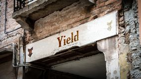 Street Sign to Yield. Street Sign the Direction Way to Yield royalty free stock images