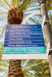Street sign with directions to tourist landmarks in Miami Beach Royalty Free Stock Photography