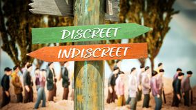 Street Sign Discreet versus Indiscreet. Street Sign the Direction Way to Discreet versus Indiscreet royalty free stock photo