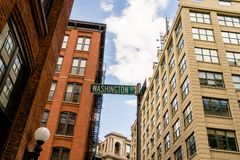 Street sign in Dumbo, Brooklyn royalty free stock images