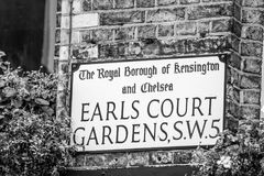 Street sign Earls Court Gardens Royalty Free Stock Images