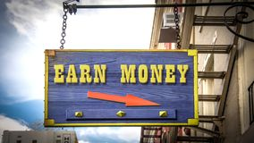 Street Sign Earn Money. Street Sign the Direction Way to Earn Money stock illustration