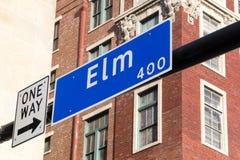 Street sign Elm Street. Street sign 400 Elm Street in Dallas Stock Photos