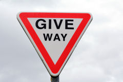 Street sign in England - Give Way Stock Image