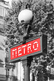 Street sign. Entrance to Paris Metro, red banner Stock Image