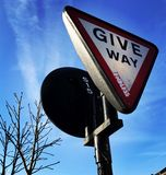 Street sign europe. Street sign, give way London Royalty Free Stock Image