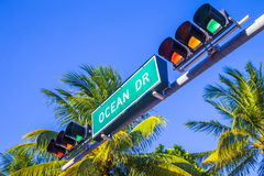 Street sign of famous street Ocean Stock Photo