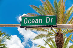 Street sign of famous street Ocean Drive in Miami  Beach Royalty Free Stock Images