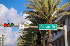 Street sign of famous street Ocean Drive in Miami. Stock Image