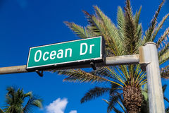 Street sign of famous street Ocean Drive in Miami. Stock Images
