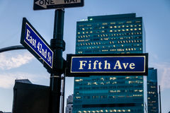 Street sign of Fifth Ave and East 42nd St - New York, USA. Street sign of Fifth Ave and East 42nd St in New York, USA royalty free stock photo