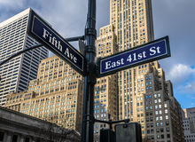 Street sign of Fifth Ave and East 41st St - New York, USA. Street sign of Fifth Ave and East 41st St in New York, USA royalty free stock photography