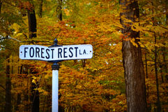 Street Sign, Forest Rest, Fall Colors Stock Photos