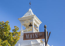 Street sign in front of the firehouse of Nevada City. California Stock Photos