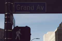 A Street sign on Grand Avenue in Des Moines, Iowa stock images