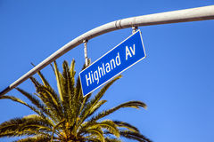 Street sign Highland Av in Hollywood Stock Photography