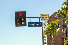 Street sign highland ave in Hollywood Royalty Free Stock Photo