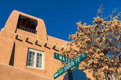 Street sign for the historic Old Santa Fe Trail in Santa Fe, New Mexico stock photo