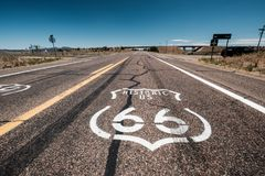 Street sign on historic route 66 in California. USA Stock Photo