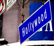 Street Sign in Hollywood California. Street Signs in Hollywood, the intersection of Hollywood Boulevard and Highland Avenue Royalty Free Stock Image