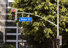 Street sign Hope street downtown Los Angeles Royalty Free Stock Image