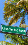 Street sign Lincoln Road Mall Royalty Free Stock Image