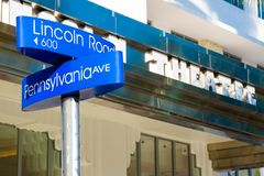 Street sign at Lincoln Road,a world famous landmark in Miami Beach. Street sign at Lincoln Road,a world famous shopping and dining promenade in Miami Beach stock photography