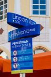 Street sign at Lincoln Road,a world famous landmark in Miami Beach stock photography